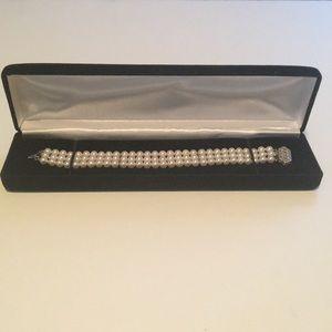 3 Strand White Freshwater Cultured Pearl Bracelet